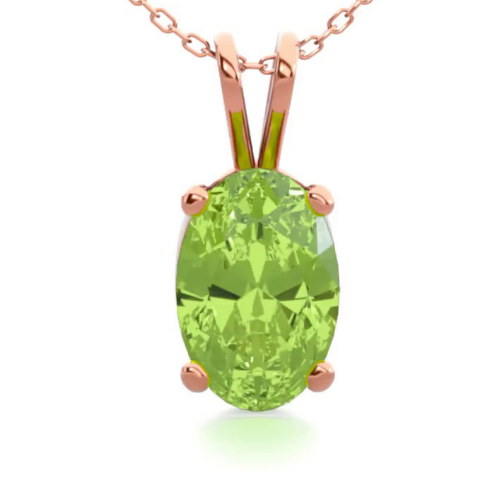 1/2 Carat Oval Shape Peridot Necklace in 14K Rose Gold Over Sterl
