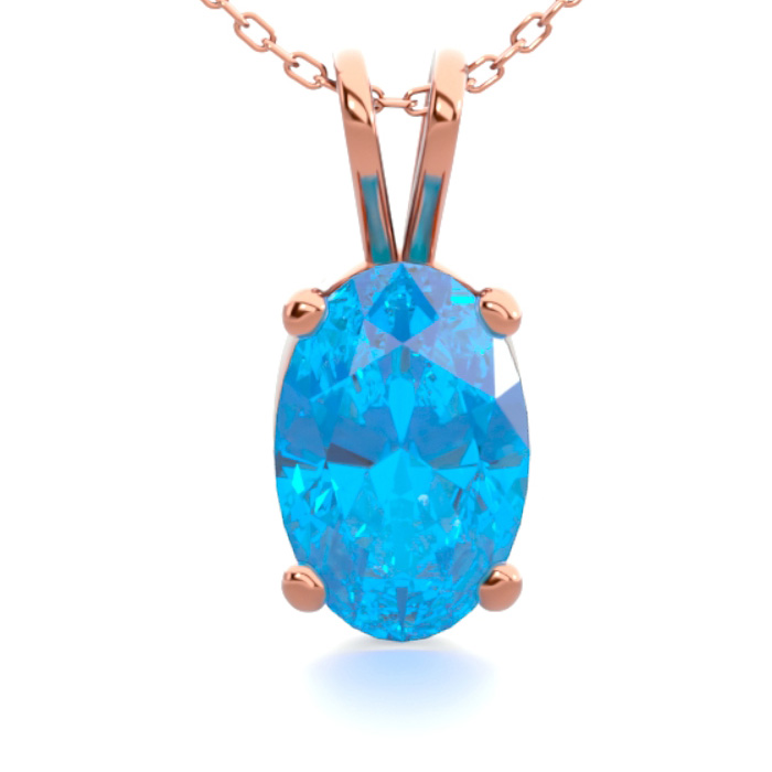 1/2 Carat Oval Shape Blue Topaz Necklace in 14K Rose Gold Over St