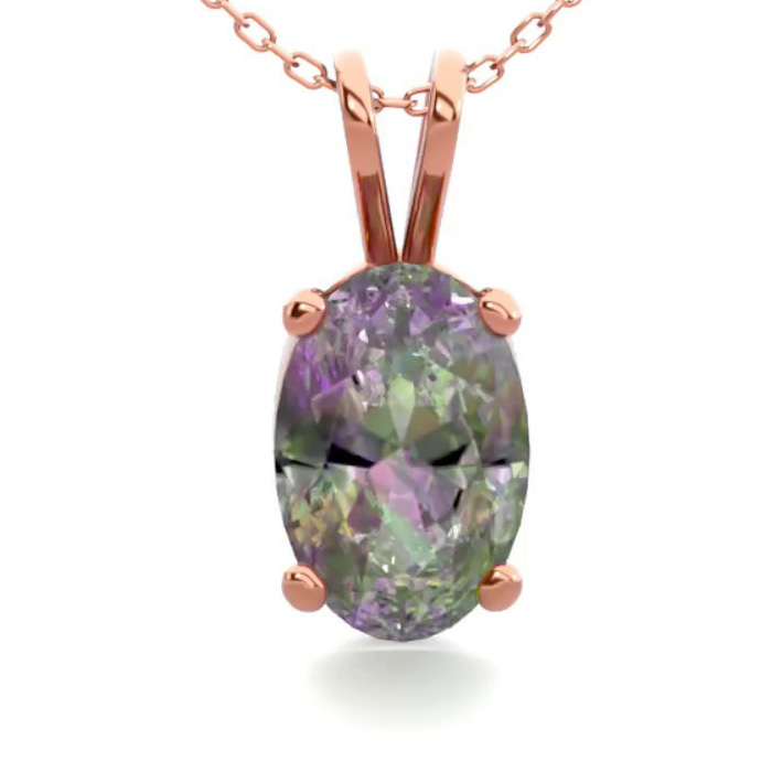 1/2 Carat Oval Shape Mystic Topaz Necklace in 14K Rose Gold Over