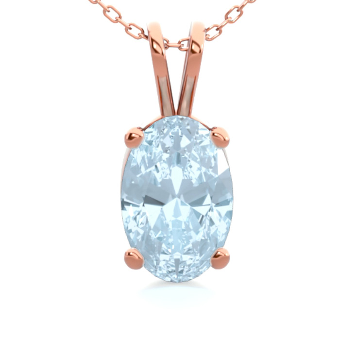 1/2 Carat Oval Shape Aquamarine Necklace in 14K Rose Gold Over St