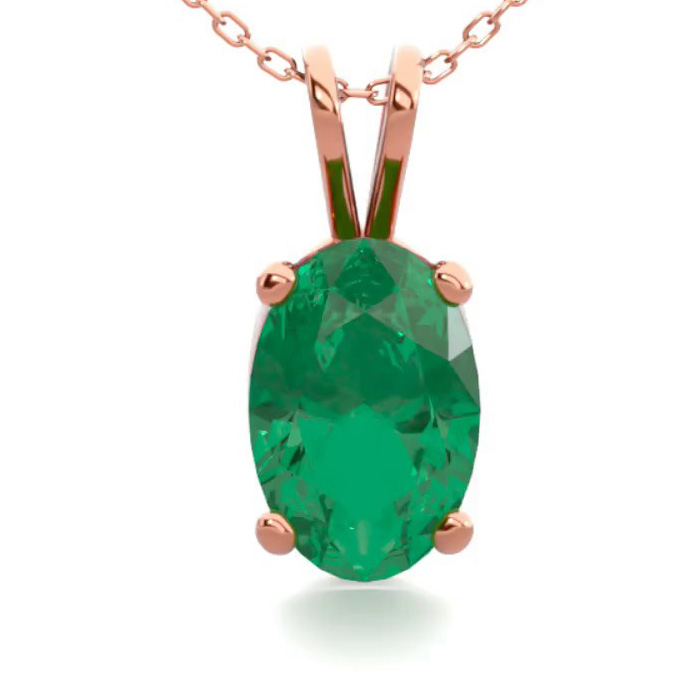 1/2 Carat Oval Shape Emerald Necklace in 14K Rose Gold Over Sterl