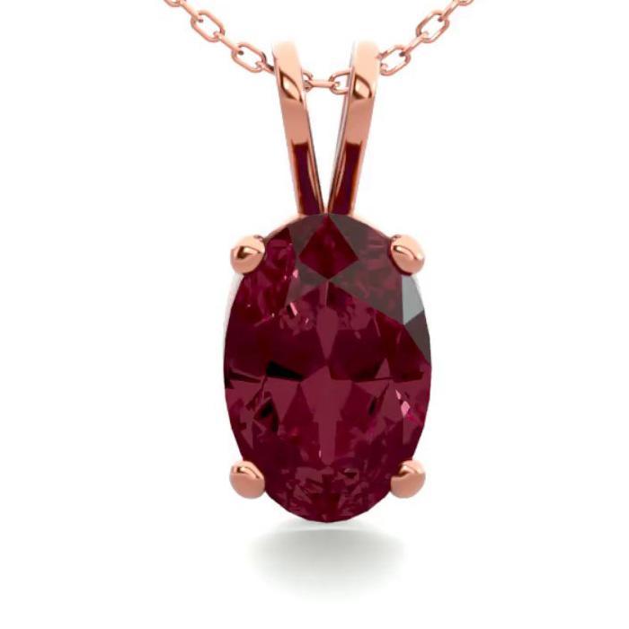 1/2 Carat Oval Shape Garnet Necklace in 14K Rose Gold Over Sterli