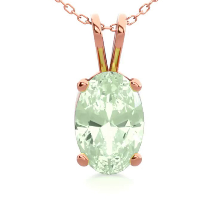 1/2 Carat Oval Shape Green Amethyst Necklace in 14K Rose Gold Ove