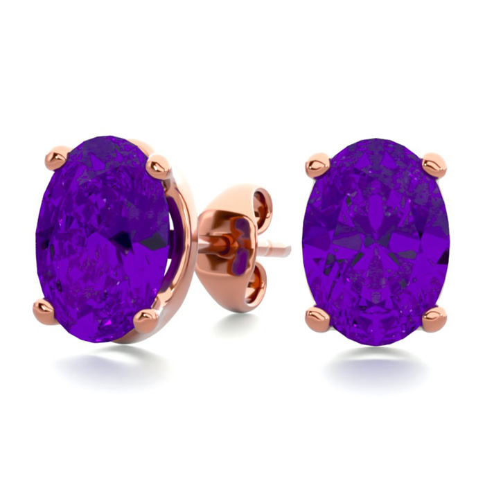 1.5 Carat Oval Shape Amethyst Stud Earrings in 14K Rose Gold Over
