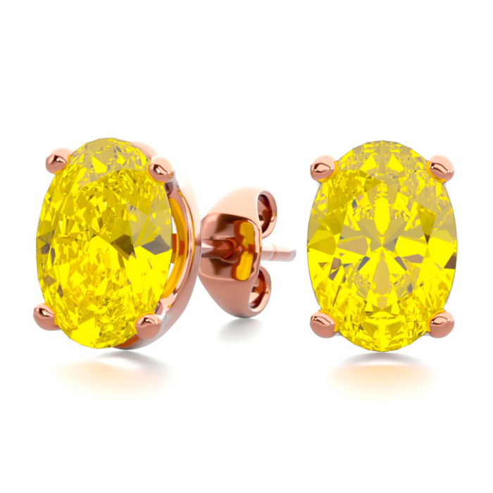 1.5 Carat Oval Shape Citrine Stud Earrings in 14K Rose Gold Over Sterling Silver by SuperJeweler