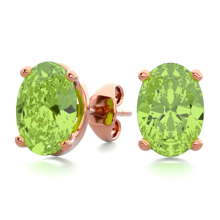1 3/4 Carat Oval Shape Peridot Stud Earrings in 14K Rose Gold Ove