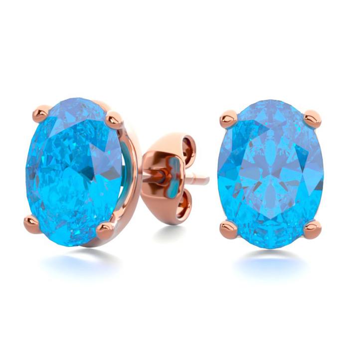 2 Carat Oval Shape Blue Topaz Stud Earrings in 14K Rose Gold Over