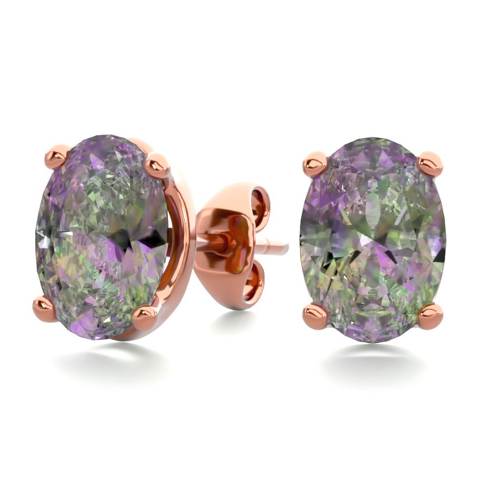 1.5 Carat Oval Shape Mystic Topaz Stud Earrings in 14K Rose Gold