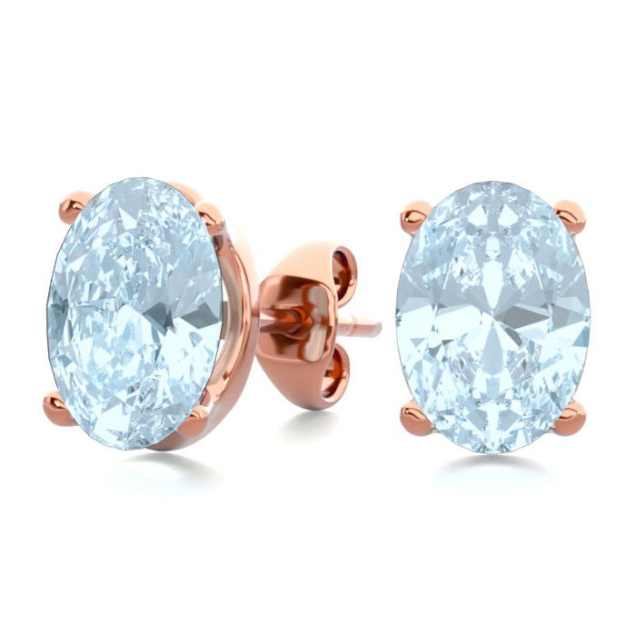 1.5 Carat Oval Shape Aquamarine Stud Earrings in 14K Rose Gold Ov