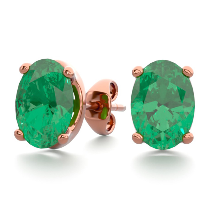 1 1/2 Carat Oval Shape Emerald Stud Earrings In 14K Rose Gold Over Sterling ..