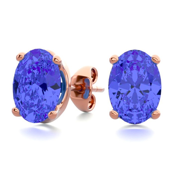 2 Carat Oval Shape Tanzanite Stud Earrings in 14K Rose Gold Over