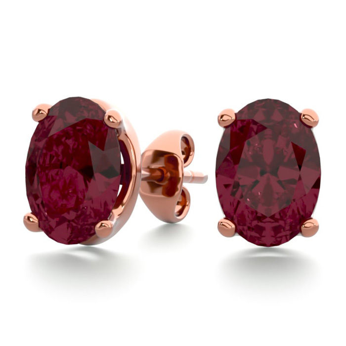 2 Carat Oval Shape Garnet Stud Earrings in 14K Rose Gold Over Ste