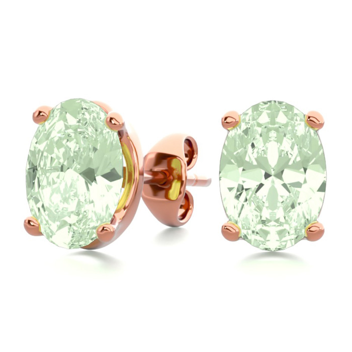 1.5 Carat Oval Shape Green Amethyst Stud Earrings in 14K Rose Gol