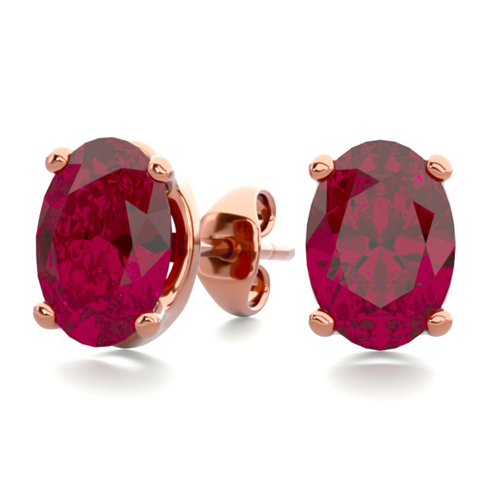 2 Carat Oval Shape Ruby Stud Earrings in 14K Rose Gold Over Sterl