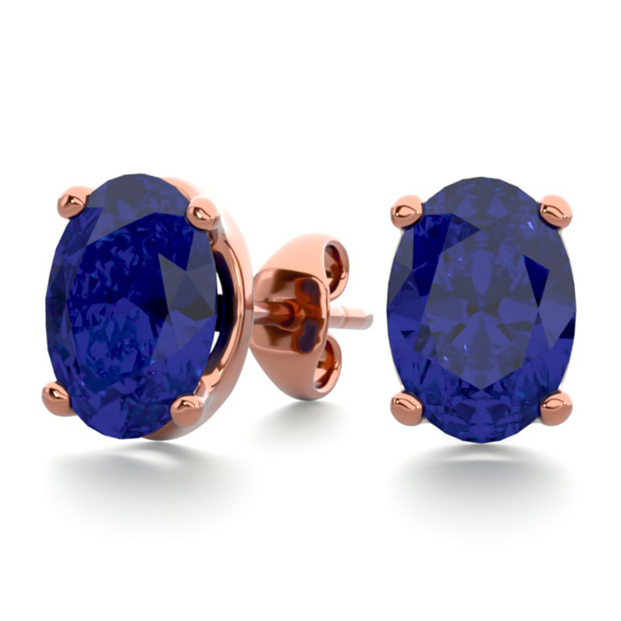 2 Carat Oval Shape Sapphire Stud Earrings in 14K Rose Gold Over S