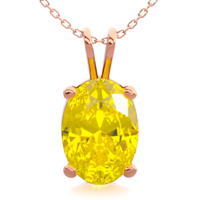 3/4 Carat Oval Shape Citrine Necklace in 14K Rose Gold Over Sterl
