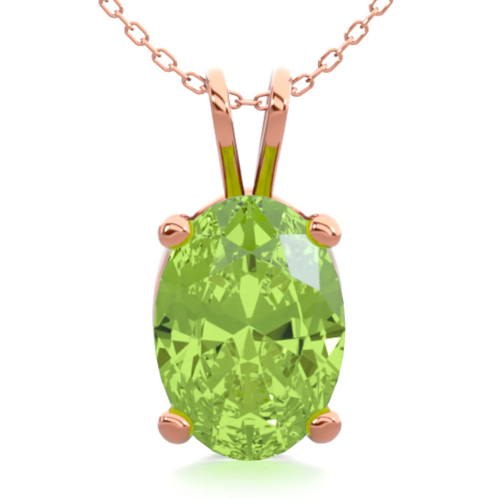 1 Carat Oval Shape Peridot Necklace in 14K Rose Gold Over Sterlin