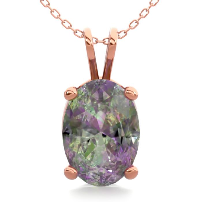 3/4 Carat Oval Shape Mystic Topaz Necklace in 14K Rose Gold Over