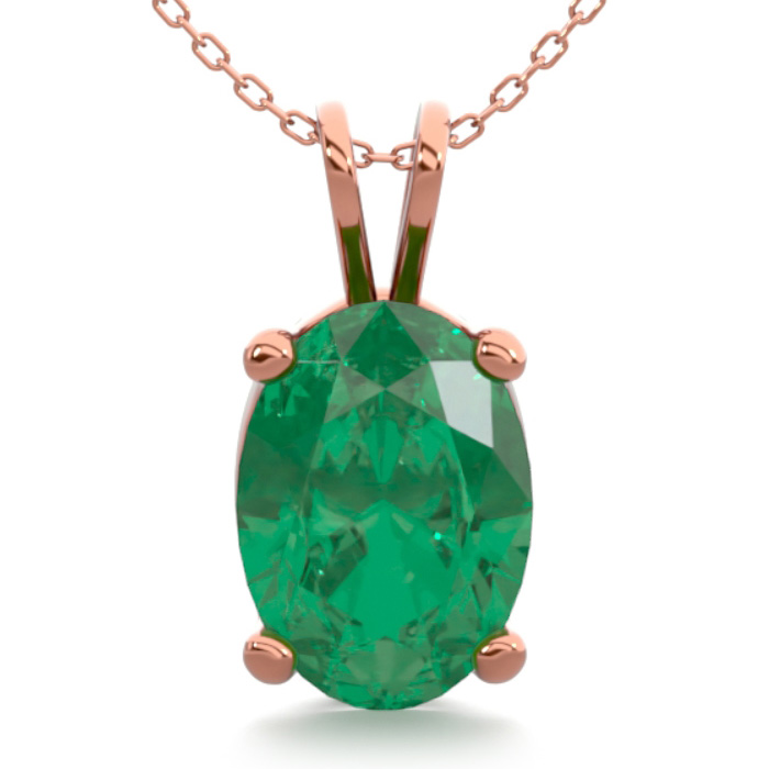 3/4 Carat Oval Shape Emerald Necklace in 14K Rose Gold Over Sterl