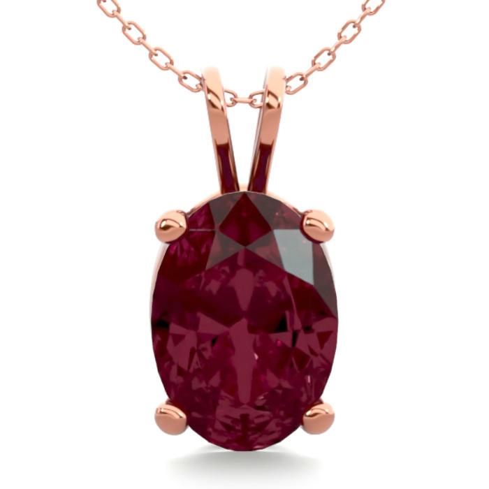 1 Carat Oval Shape Garnet Necklace in 14K Rose Gold Over Sterling