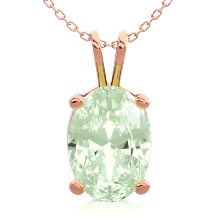 3/4 Carat Oval Shape Green Amethyst Necklace in 14K Rose Gold Ove