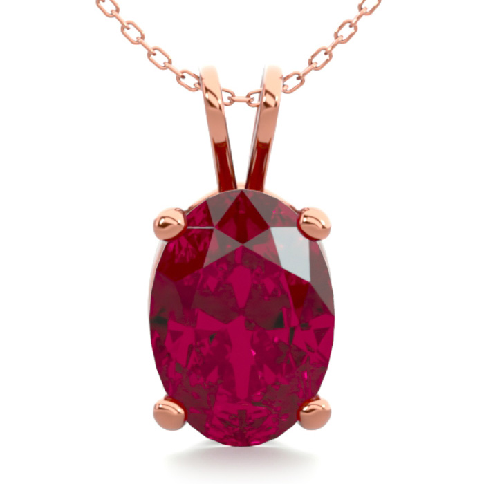 1 Carat Oval Shape Ruby Necklace in 14K Rose Gold Over Sterling S