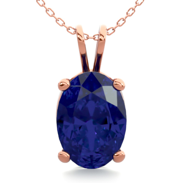 1 Carat Oval Shape Sapphire Necklace in 14K Rose Gold Over Sterli