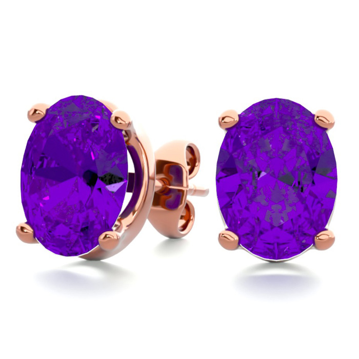 2 Carat Oval Shape Amethyst Stud Earrings in 14K Rose Gold Over S