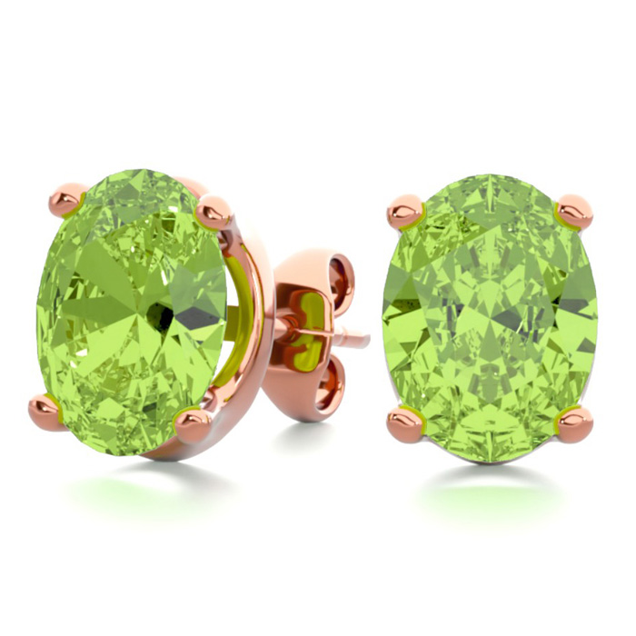 2 3/4 Carat Oval Shape Peridot Stud Earrings in 14K Rose Gold Ove