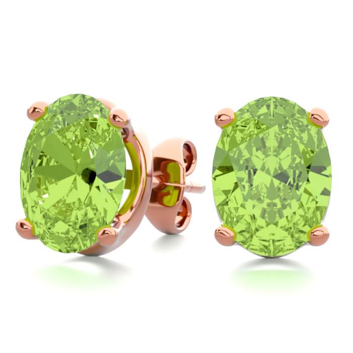 2 3/4 Carat Oval Shape Peridot Stud Earrings in 14K Rose Gold Over Sterling Silver by SuperJeweler