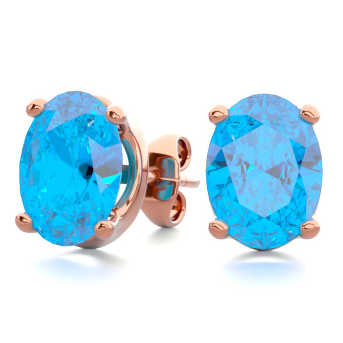 3 Carat Oval Shape Blue Topaz Stud Earrings in 14K Rose Gold Over