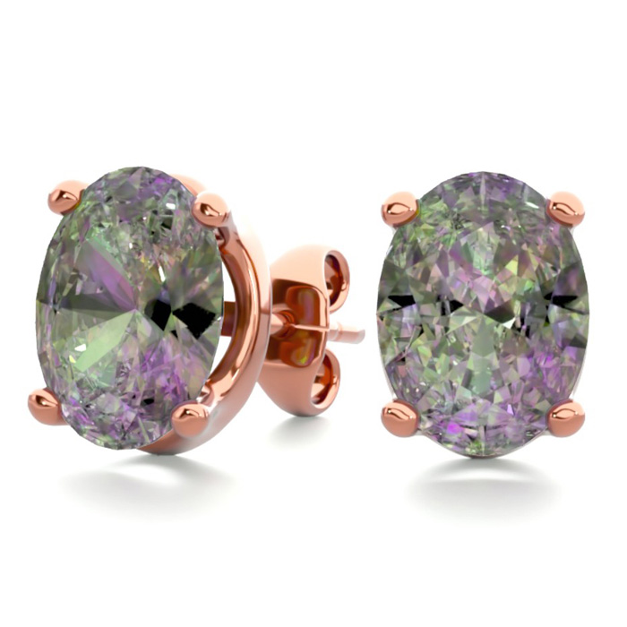 2 Carat Oval Shape Mystic Topaz Stud Earrings in 14K Rose Gold Ov