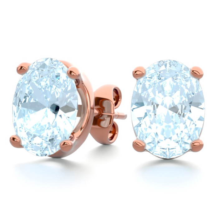 2 1/3 Carat Oval Shape Aquamarine Stud Earrings in 14K Rose Gold