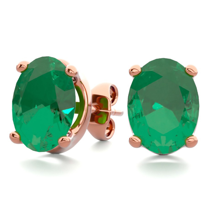 2 1/3 Carat Oval Shape Emerald Stud Earrings in 14K Rose Gold Ove