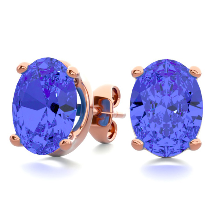 2.5 Carat Oval Shape Tanzanite Stud Earrings in 14K Rose Gold Ove