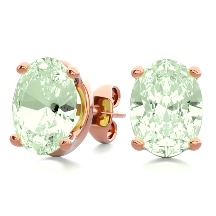 2 Carat Oval Shape Green Amethyst Stud Earrings in 14K Rose Gold