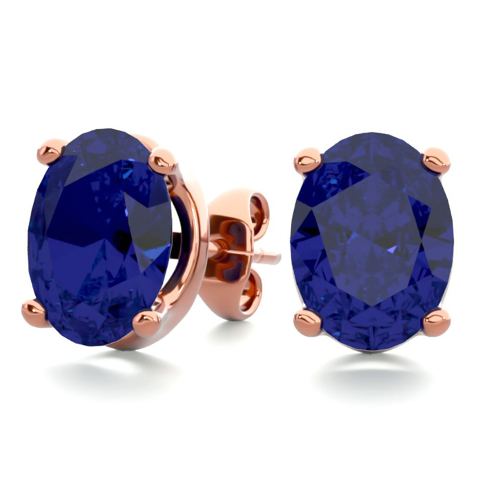 3 Carat Oval Shape Sapphire Stud Earrings in 14K Rose Gold Over S