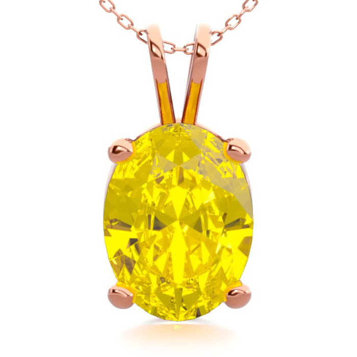 1 Carat Oval Shape Citrine Necklace in 14K Rose Gold Over Sterlin
