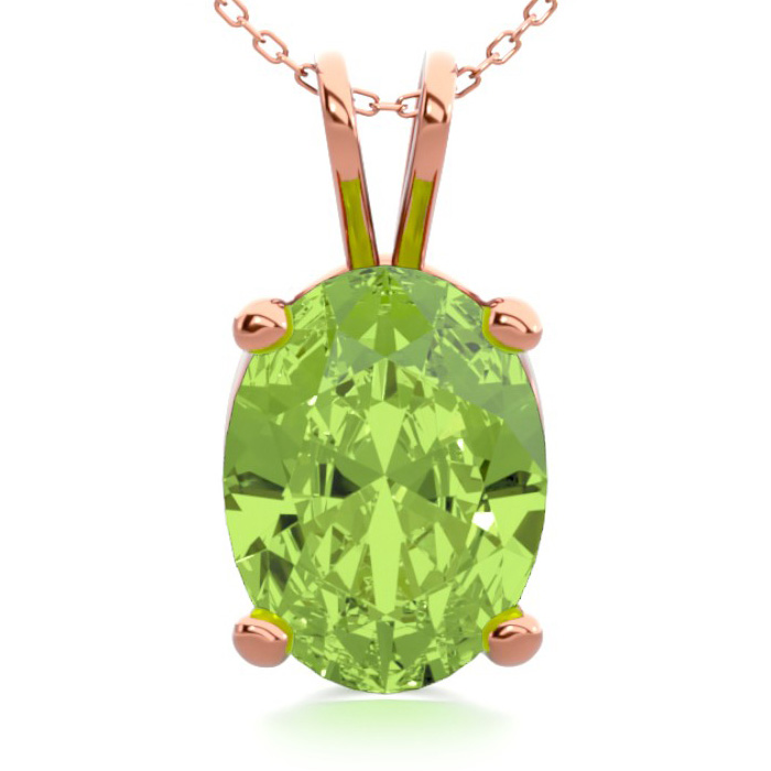 1 1/3 Carat Oval Shape Peridot Necklace in 14K Rose Gold Over Ste