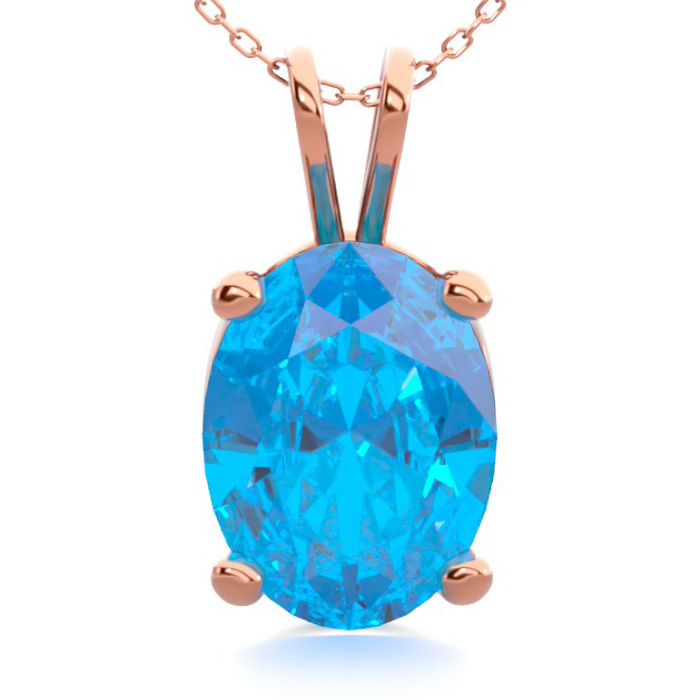 1.5 Carat Oval Shape Blue Topaz Necklace in 14K Rose Gold Over St
