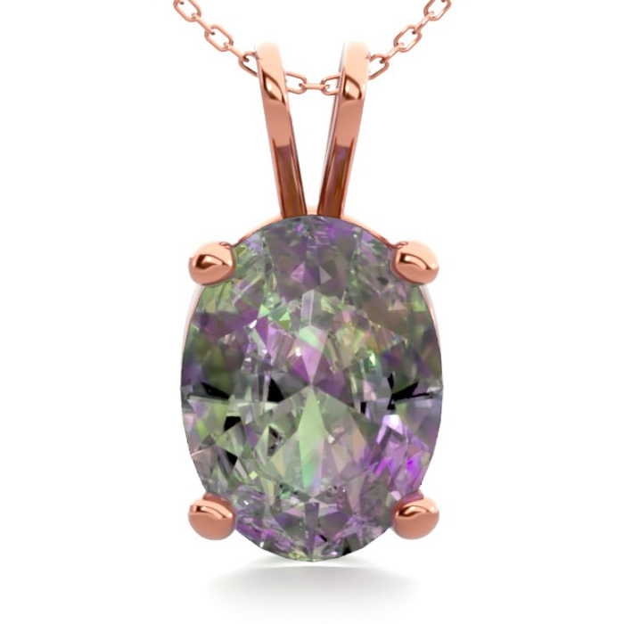 1 Carat Oval Shape Mystic Topaz Necklace in 14K Rose Gold Over St