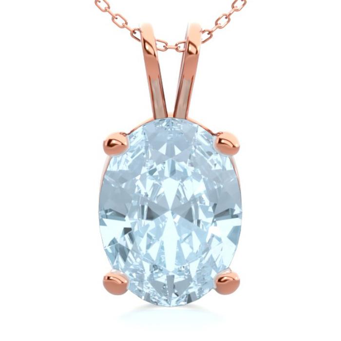 1 Carat Oval Shape Aquamarine Necklace in 14K Rose Gold Over Ster
