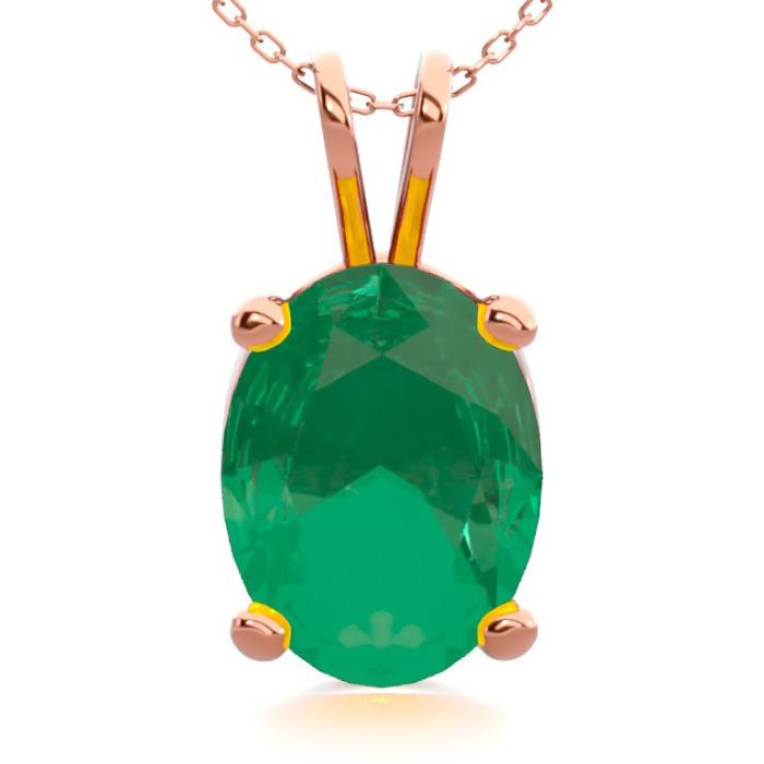 1 Carat Oval Shape Emerald Necklace in 14K Rose Gold Over Sterlin