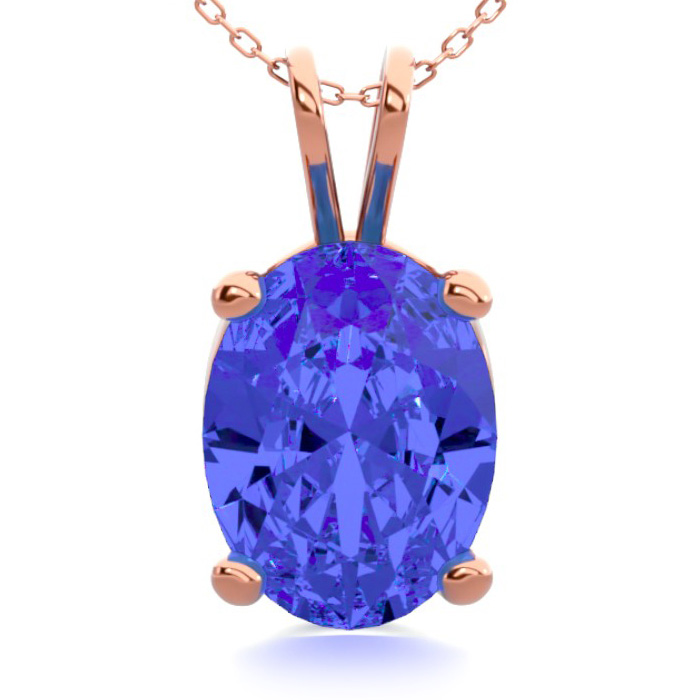1 1/3 Carat Oval Shape Tanzanite Necklace in 14K Rose Gold Over S