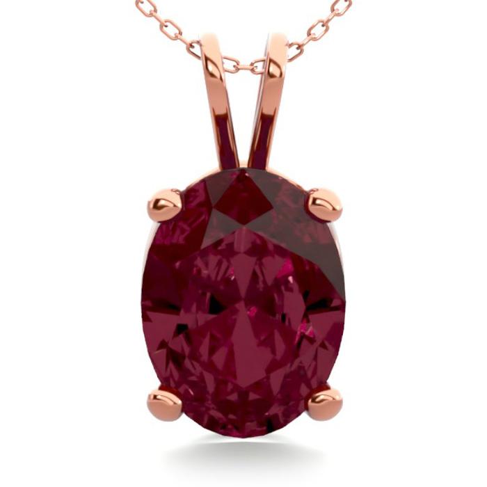 1.5 Carat Oval Shape Garnet Necklace in 14K Rose Gold Over Sterli