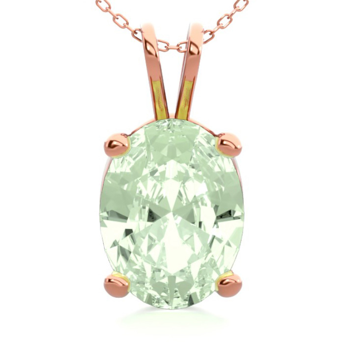 1 Carat Oval Shape Green Amethyst Necklace in 14K Rose Gold Over