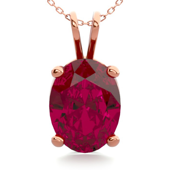 1.5 Carat Oval Shape Ruby Necklace in 14K Rose Gold Over Sterling