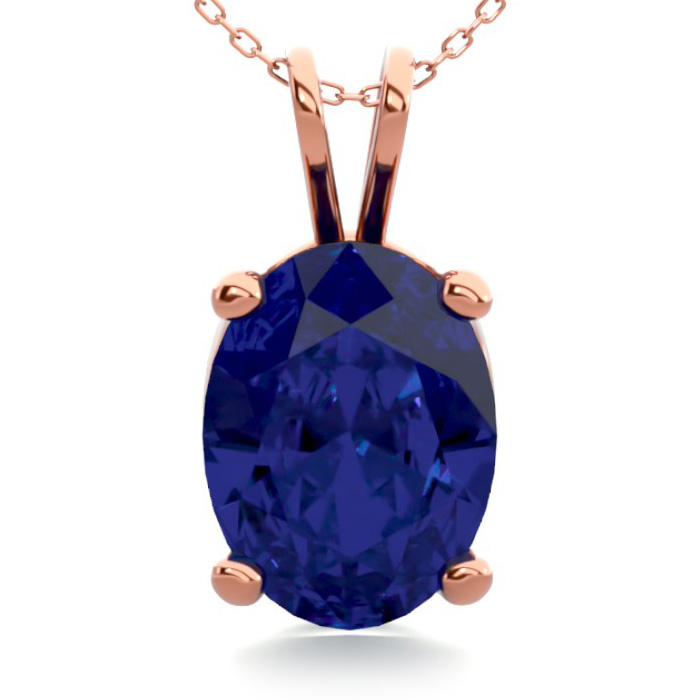 1.5 Carat Oval Shape Sapphire Necklace in 14K Rose Gold Over Ster