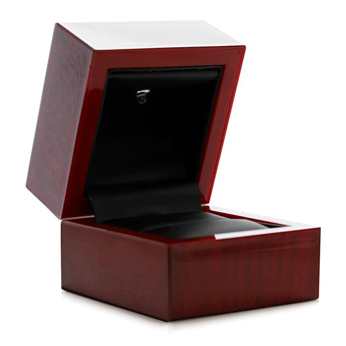 Cherry Wood Engagement Ring Box w/ Overhead Light by SuperJeweler