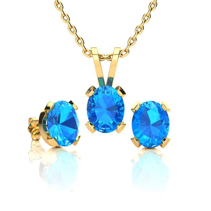 1 2/3 Carat Oval Shape Blue Topaz Necklace and Earring Set In 14K Yellow Gold Over Sterling Silver